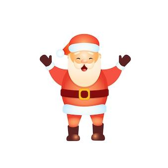 Der glückliche weihnachtsmann hob die hände hoch