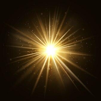 Der goldene stern platzte. goldene helle explosion getrennt auf dunklem hintergrund