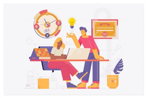 Der grafikdesigner arbeitet mit einem laptop während der zusammenarbeit mit einem kollegen an einem gemeinsamen projekt.