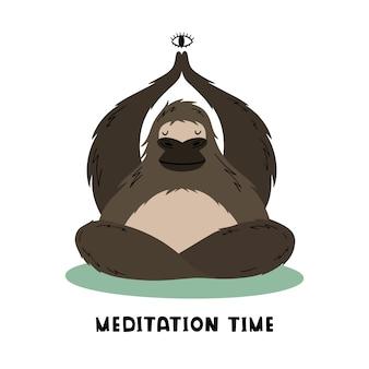 Der große gorilla meditiert und macht yoga
