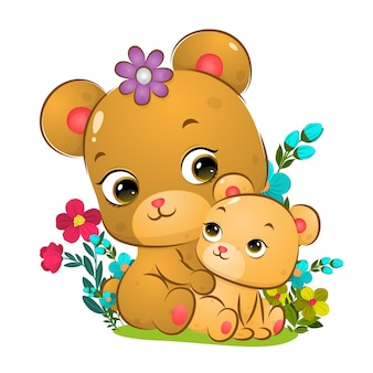 Der große niedliche bär sitzt hinter der babybärenillustration