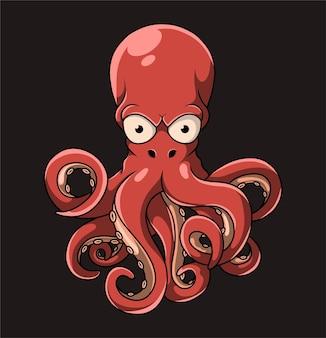 Der große oktopus mit den großen augen und vielen tentakeln