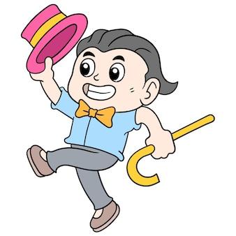 Der gutaussehende mann mit der schmetterlingskrawatte ging fröhlich und verließ das datum, vektorillustrationskunst. doodle symbolbild kawaii.