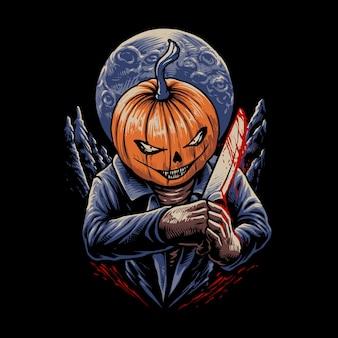 Der halloween-kürbis mit messerillustration