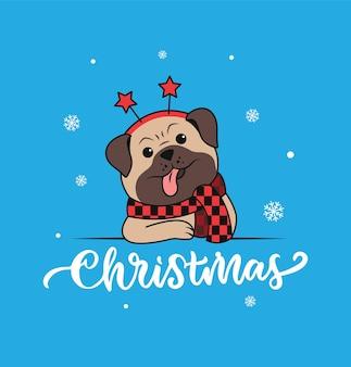 Der handgeschriebene text und der lustige mops mit schnee der kopfhund ist gut für weihnachtskarten usw