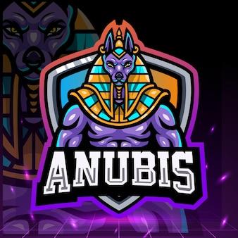Der herr des anubis-maskottchens esport-logo-design