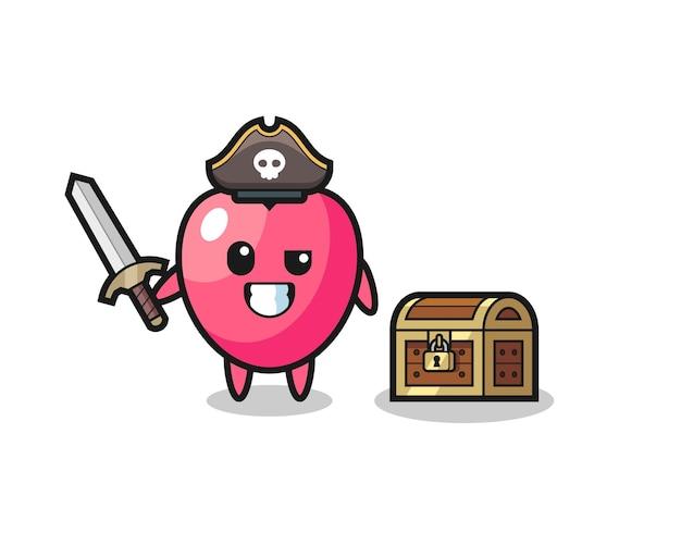 Der herzsymbol-piratencharakter, der ein schwert neben einer schatzkiste hält, süßes design für t-shirt, aufkleber, logo-element
