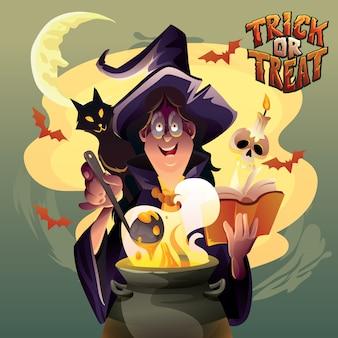 Der hexer, der für halloween kocht