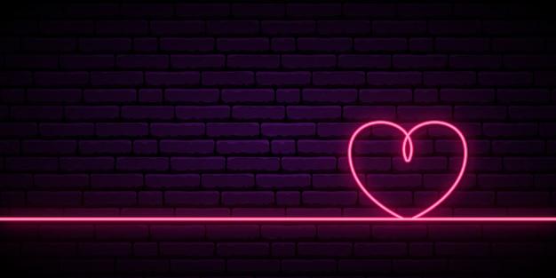 Der hintergrund des valentinsgrußes mit linie des rosa neonherzens eine.