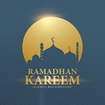 Der hintergrund von ramadhan kareem in einem luxuriösen stil aus gold und tosca-farben