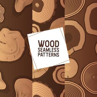 Der hölzerne kreis des woodseamless-musters schellt baumstammhölzer, die stämme und hartholzbauholzmaterialien protokollieren