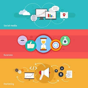 Der horizontale fahnensatz seo-marketings mit social media-geschäft lokalisierte vektorillustration