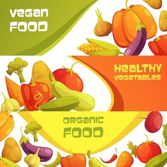 Der horizontale hintergrund der gesunden organischen lebensmittelanzeige des strengen vegetariers, der mit reifem landwirtmarktgemüse eingestellt wurde, lokalisierte karikaturvektorillustration