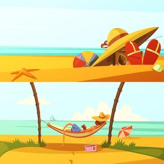 Der horizontale karikaturhintergrund der sommerferien, die mit strand eingestellt wird, trägt und lokalisierte vektorillustration der ausrüstung