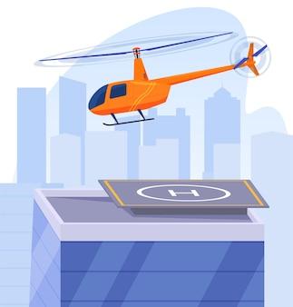 Der hubschrauber fliegt über den hubschrauberlandeplatz