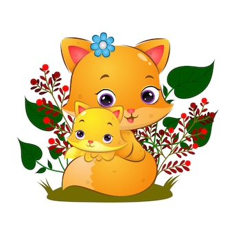 Der hübsche fuchs posiert mit ihrem baby im garten mit schönen blumen der illustration