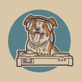 Der hund trägt ein headset und spielt einen pionier-dj mit einer blauen kreishintergrund-weinleseillustration
