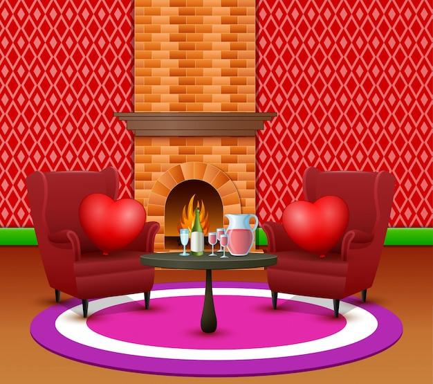 Der innenraum des wohnzimmers zur feier des valentinstags