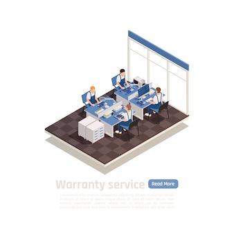 Der isometrische garantieservice mit einer expertengruppe im büroinnenraum, die an ihrem arbeitsplatz mit schadensgeräten arbeitet