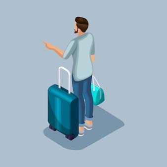 Der isometrische junge mann am flughafen wartet auf einen flug mit dingen und einem koffer. rückansicht
