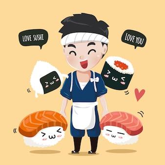 Der japanische koch mit süßen sushi-freunden geht spazieren und schließt sich fröhlich den händen an.