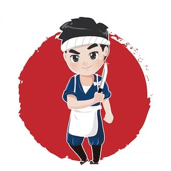 Der japanische koch wird seine fähigkeiten als präparator unter beweis stellen, um japanisches essen mit einem scharfen messer zuzubereiten