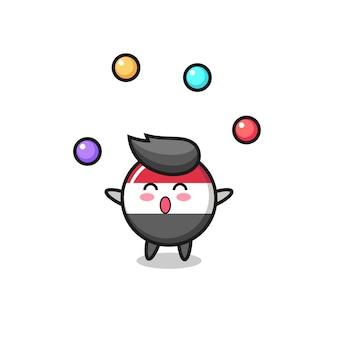 Der jemen-flaggen-zirkus-cartoon, der mit einem ball jongliert, niedliches design für t-shirt, aufkleber, logo-element