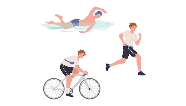 Der junge athlet schwimmt, läuft und fährt fahrrad
