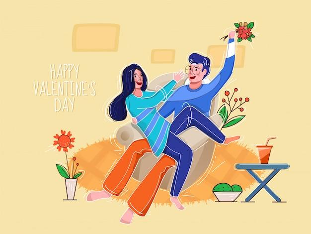 Der junge, der einen blumenblumenstrauß hält, necken seine freundin auf sofa mit blumentopf für glückliches valentinstag-konzept.