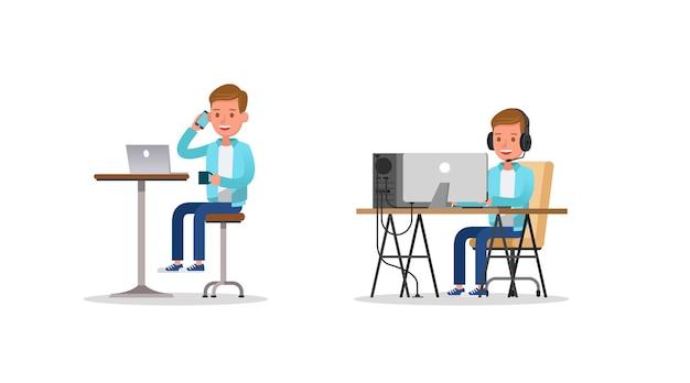 Der junge, der spiel auf computercharakter-vektordesign arbeitet und spielt.