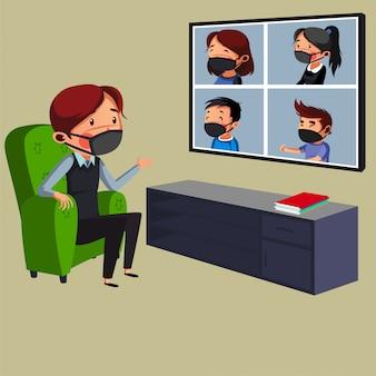 Der junge manager hat ein online-meeting mit seinem team