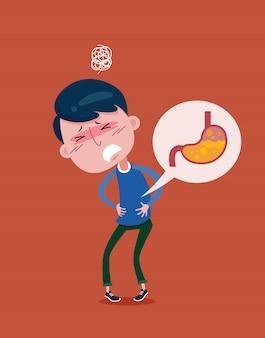 Der junge mann leidet unter magenbeschwerden