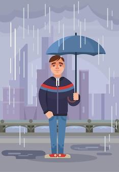 Der junge manncharakter hält regenschirm unter regen