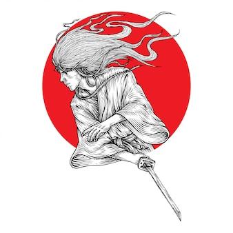 Der junge ronin schwingt katana