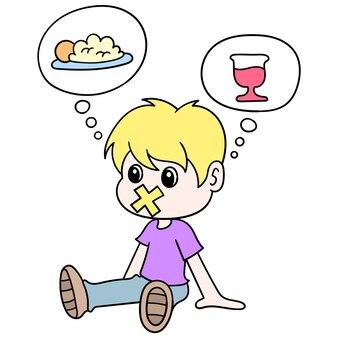 Der junge saß hungrig, weil er fastete, vektorgrafiken. doodle symbolbild kawaii.