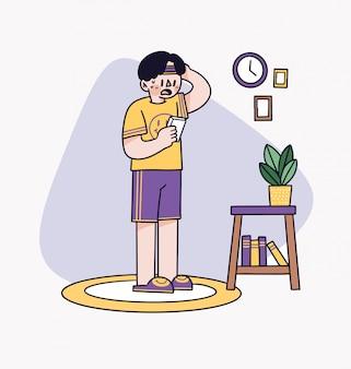 Der junge vergaß die ernennung zum sport, illustration