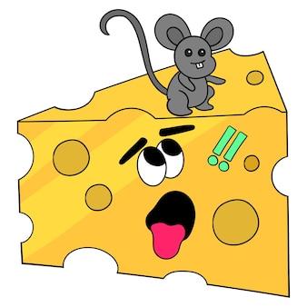Der käse wird von rattenmaskottchen gegessen. cartoon illustration süßer aufkleber