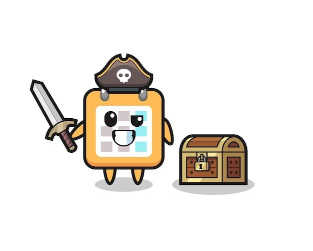 Der kalender-piraten-charakter, der ein schwert neben einer schatzkiste hält, niedliches design für t-shirt, aufkleber, logo-element