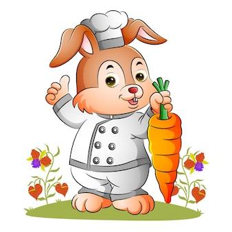 Der kaninchenkoch hält eine große karotte der illustration