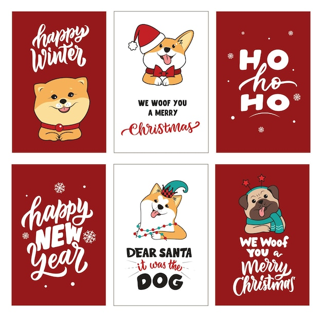 Der kartensatz mit hunden und zitaten über frohes neues jahr, frohe weihnachten, frohen winter. die vintage-phrasen eignen sich gut für urlaubsdesigns. die vektorillustration