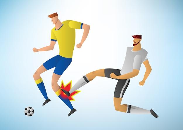 Der kicker tritt hinter das spielerbein