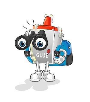 Der kleber mit fernglascharakter. cartoon maskottchen