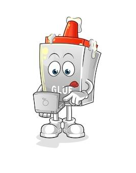 Der kleber mit laptop-maskottchen. karikatur Premium Vektoren
