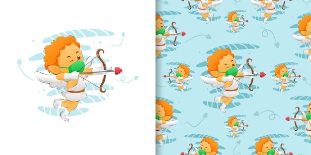 Der kleine amor benutzt eine maske und hält den bogen im mustersatz der illustration