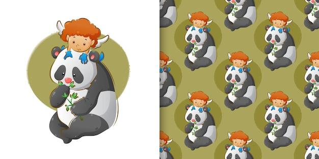 Der kleine amor spielt auf dem kopf des pandas, der die blätter im musterset frisst
