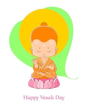 Der kleine buddha meditiert über den lotos