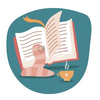 Der kleine bücherwurm liest begeistert eine seite eines großen aufgeschlagenen buches und trinkt kaffee oder tee lerne...