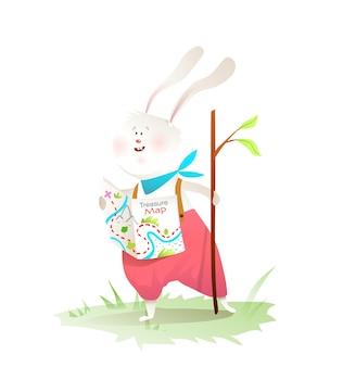 Der kleine entdecker des kaninchens unternimmt abenteuer mit einem holzstab, der kleidung trägt. netter hasen-tiercharakter für kinder.
