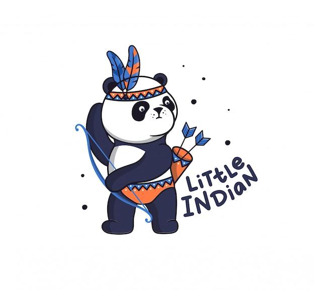 Der kleine panda im boho-stil. lustiger tierkarikatur mit federn will einen bogen schießen
