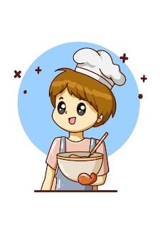 Der koch, der für die karikaturillustration des arbeitstages kocht